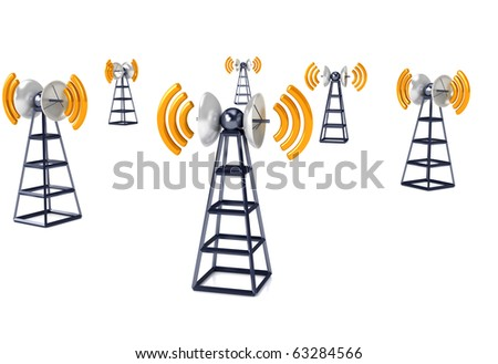 Mobile antena over white. Communication concept