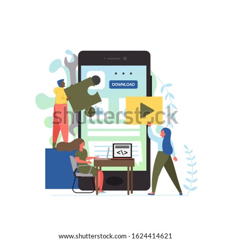 Mobile app development services, flat style design illustration. Tiny people software application developers building big smartphone user interface.