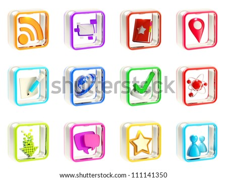 Mobile app icon application emblems isolated on white background, set of twelve