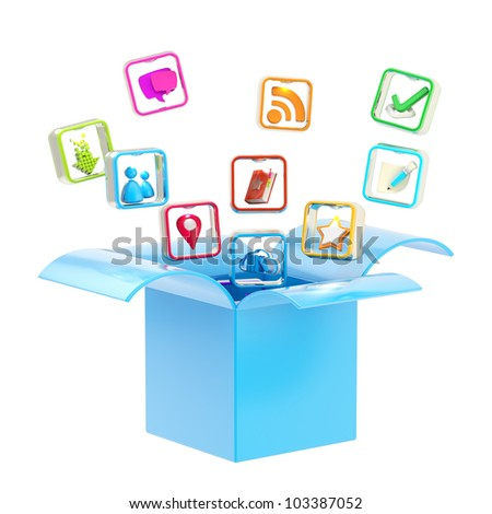 Mobile application app icon inside a blue box isolated on white