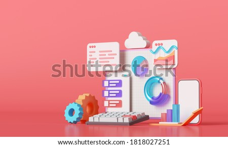 Mobile application, Software and web development with 3d shapes, bar chart, infographic on pink background. 3d rendering