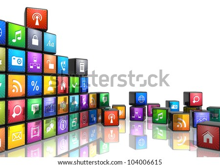 Mobile applications and media technologies concept: group of cubes with color app icons isolated on white background with reflection effect