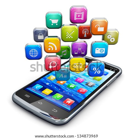 Mobile applications, business software and social media networking service concept: modern black glossy touchscreen smartphone with cloud of color application icons isolated on white background