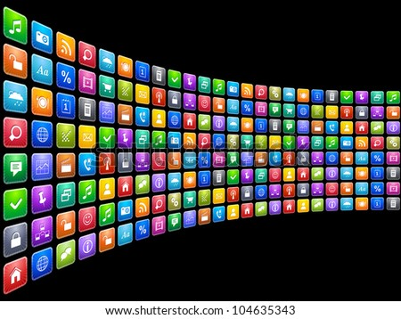 Mobile applications concept: endless row of colorful app icons isolated on black background