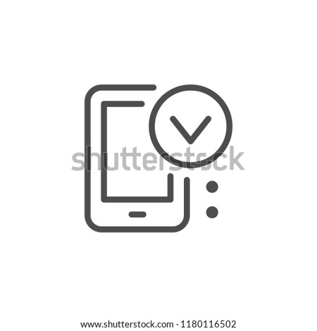 Mobile approving line icon isolated on white