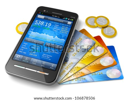 Mobile banking and finance concept: smartphone with stock exchange market application, group of color credit cards and golden Euro coins isolated on white background