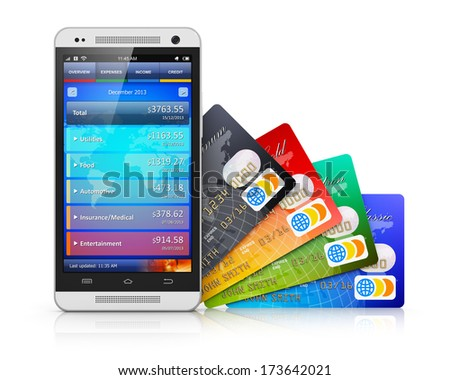 Mobile Banking, Business Finance And Making Money Commercial Technology Concept: Modern Metal Black Glossy Touchscreen Smartphone With Personal Wallet Application And Group Of Color Credit Cards