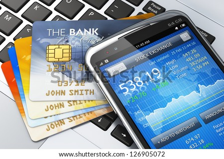 Mobile banking, business finance and making money concept: modern metal black glossy touchscreen smartphone with personal wallet application and group of credit cards isolated on white background
