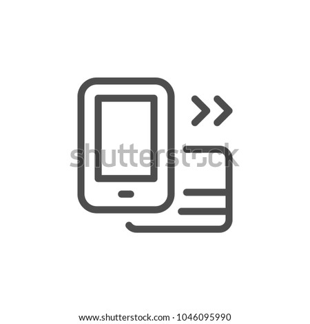 Mobile banking line icon card isolated on white