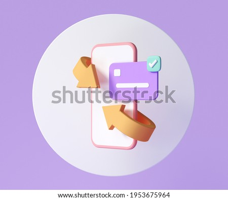 Mobile Cashback and money refund icon concept. Wallet, dollar bill and coin stack, online payment on pink background. 3d render illustration