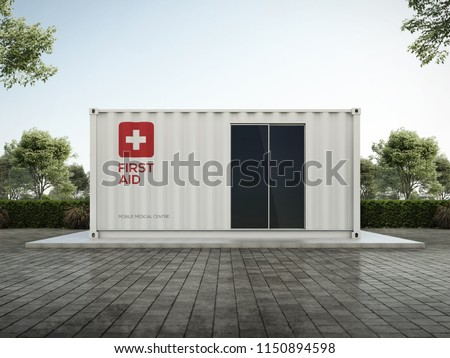 Mobile Clinic container 3D render