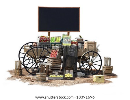 Mobile commercial Old Western wagon with blank billboard for text space