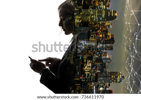 Mobile communication network concept. Abstract double exposure.