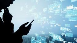 Mobile communication network concept. Digital transforamtion. GUI (Graphical User Interface).