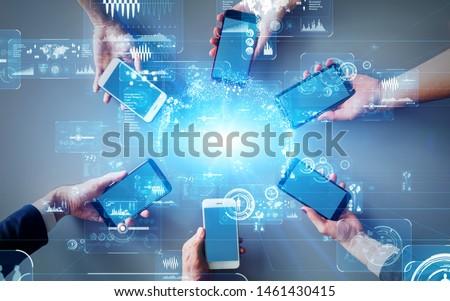 Mobile communication network concept. Digital transforamtion. GUI (Graphical User Interface). #1461430415