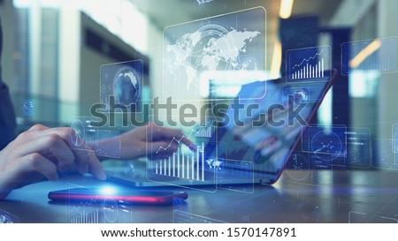 Mobile communication network concept. Digital transforamtion. GUI (Graphical User Interface). #1570147891