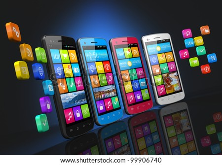 Mobile communications and social networking concept: row of touchscreen smartphones with cloud of application icons isolated on black background with reflection effect