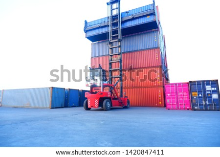 Mobile containers operated at the container port at Laem Chabang Port, Thailand #1420847411