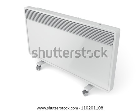 Mobile convection heater on white background