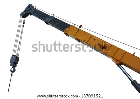 mobile crane boom isolated on white