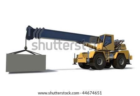 Mobile crane with a load on the jib crane. The cargo is ready for Drawing. White background.