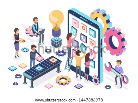 Mobile development process color banner, contemporary device with collection of applications, gears set, lamp idea symbol, people developers test games