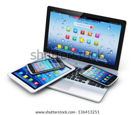Mobile devices, wireless communication technology and internet web concept: business laptop or notebook, tablet computer PC and touchscreen smartphones with application interfaces isolated on white stock photo