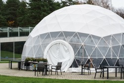 Mobile dome design. A geodesic dome. A hemispherical thin-shell structure (lattice-shell) based on a geodesic polyhedron.