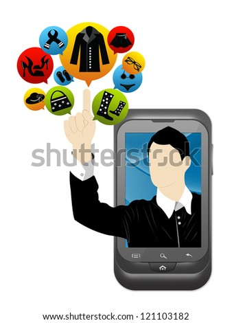Mobile E-Commerce and Online Shopping Concept Present by Smartphone With Businessman Pointing to Colorful Women Fashion Icon Isolate on White Background