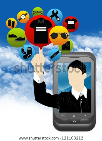 Mobile E-Commerce and Online Shopping Concept Present by Smartphone With Businessman Pointing to Colorful Men Fashion Icon in Blue Sky Background