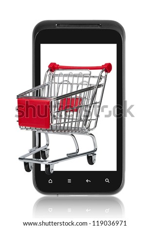 Mobile e-commerce. Isolated on white.