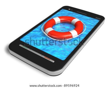 Mobile emergency service concept: touchscreen smartphone with lifesaver belt isolated on white background