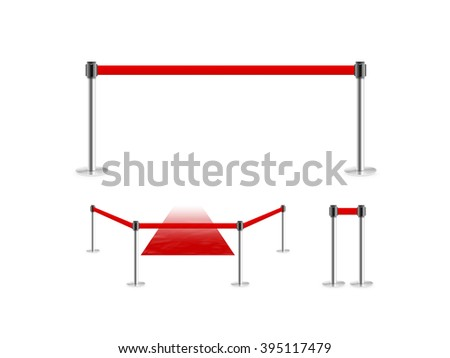 Mobile fence barrier with red belt and velvet carpet stand isolated on white. Fencing barricade on metal chrome pole posts. Portable protective rack with ribbon stretch tape. Protection fence crowd.