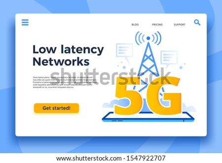Mobile 5G landing page. Fast internet connection, low latency networks and communication network coverage. High speed lte iot internet, global wireless networking  illustration