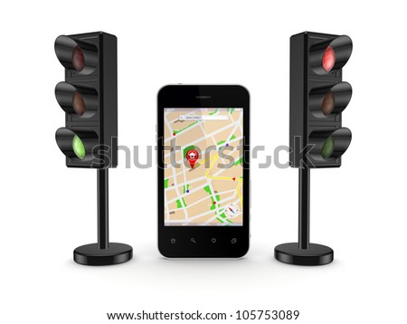Mobile GPS concept.Isolated on white background.3d rendered.