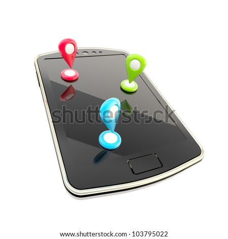 Mobile gps navigation concept as phone with geo tags isolated on white