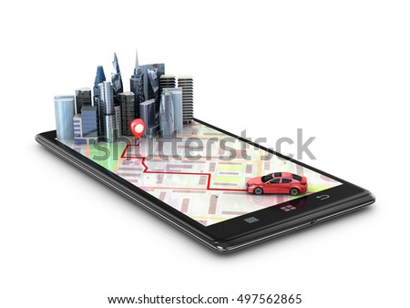 Mobile GPS navigation, travel and tourism concept. View a map on the mobile phone on car and search GPS coordinates. 3d illustration