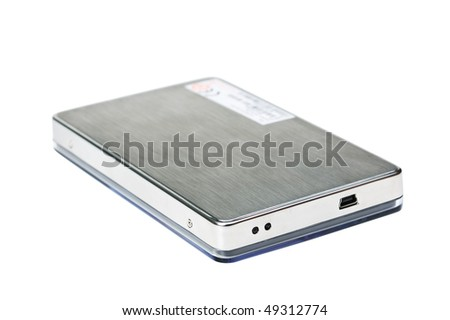 Mobile hard disk isolated on a white background