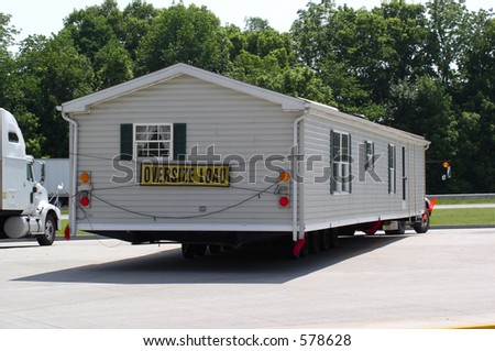 Mobile home stops in a rest area