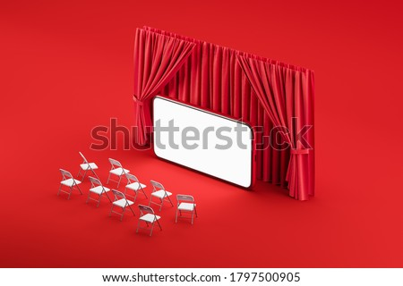 Mobile internet cinema. Chairs in front of the phone screen, like in a movie. The concept of a film premiere, business conference, online theater. Mock up. 3d rendering