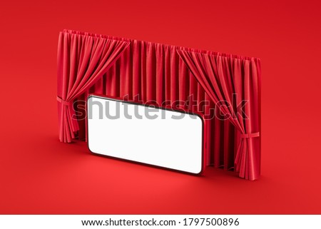 Mobile internet cinema in the red hall with curtains like theater or cinema. Film premiere concept. Mock up. 3d rendering