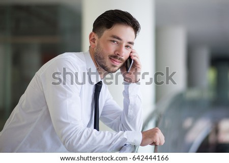 Mobile man connecting with business partner