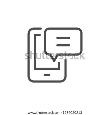 Mobile message line icon isolated on white