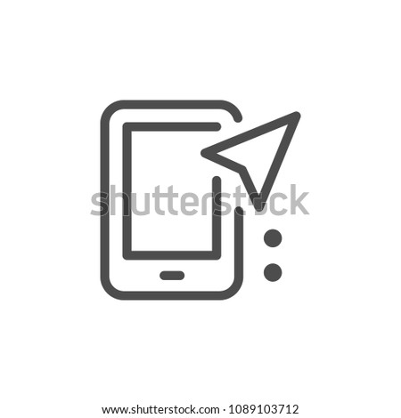 Mobile navigation line icon isolated on white
