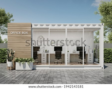 Mobile office container 3D render  Foto stock ©