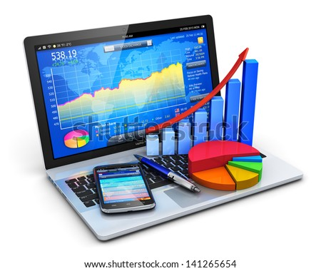 Mobile office, stock exchange market trading, accounting, financial development and banking business concept: notebook with stock market application, bar chart, pie diagram and smartphone isolated