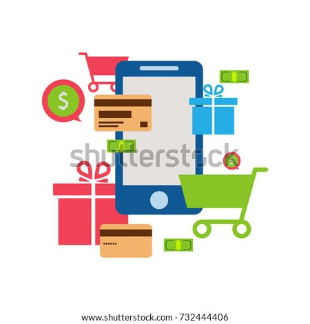 Mobile online store , smartphone , cart : concept of mobile phone order, purchase, internet shop showcase, ecommerce.