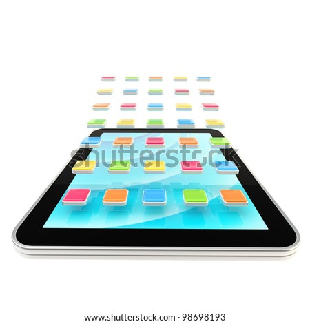 Mobile pad computer with application empty icons isolated on white