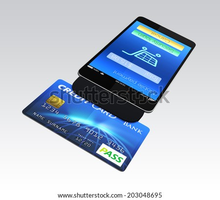 Mobile payment concept. Credit card reader on smartphone scanning a credit card.