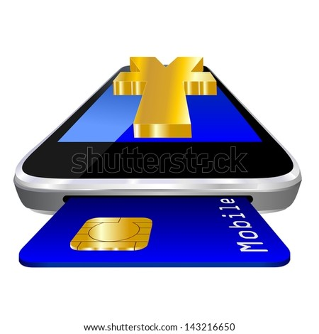 mobile payment illustration with smartphone, credit card an the currency symbol of Chinese Yuan